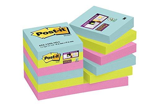 Post-it Super Sticky – Notas adhesivas, pack de 12 blocs, colección»Nuevos colores, nuevos lugares» Miami