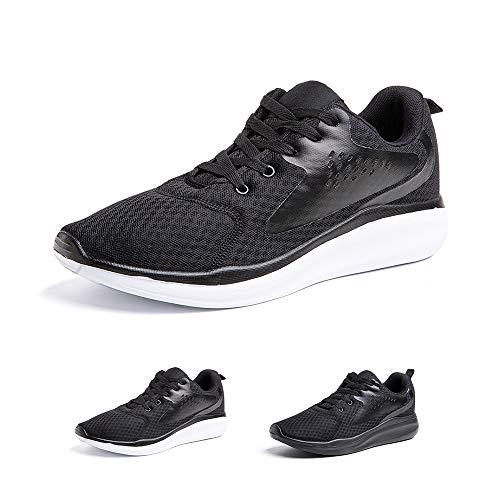 Zapatillas Running Hombre Zapatos Deportivos con Cordones Casuales Sneakers Sport Fitness Gym Outdoor Transpirable Comodas Calzado Negro Blanco Talla 43