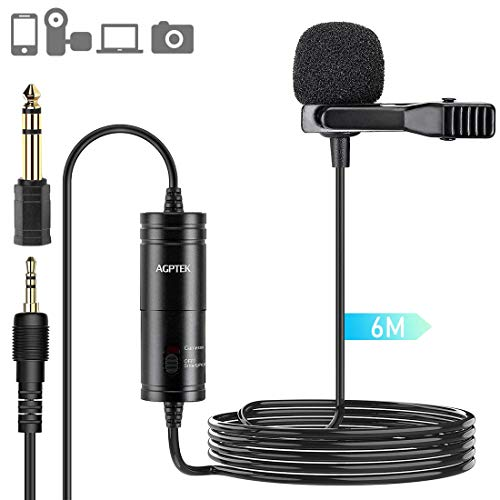 AGPTEK Lavalier-microfoon, 6M handsfree clip-on mini-microfoon met omnidirectionele condensator voor camera, DSLR, iPhone, Android, pc, laptop, ideaal voor interview, videoconferentie, podcast, etc.