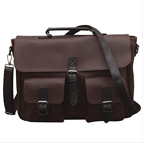 QSGNR Aktentasche Mode Einfachen Pu-Leder Männer Aktentasche Retro Umhängetasche Männer Umhängetasche Business Handtaschen Vertrag Laptop Reisetaschen