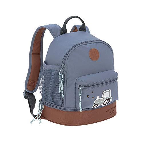 LÄSSIG Kinderrucksack mit Brustgurt Kindergartentasche Kindergartenrucksack 27 cm, 4,5 Liter oben, 1,5 Liter unten, 3 Jahre/Mini Backpack Adventure Tractor, Blau