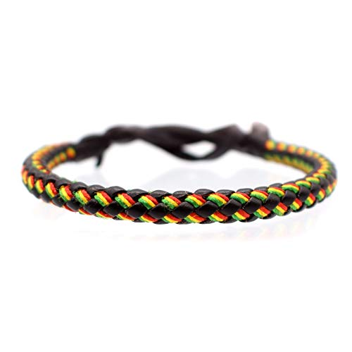 BDM Pulsera Rasta jamaicana de Cuero Negro Hippie
