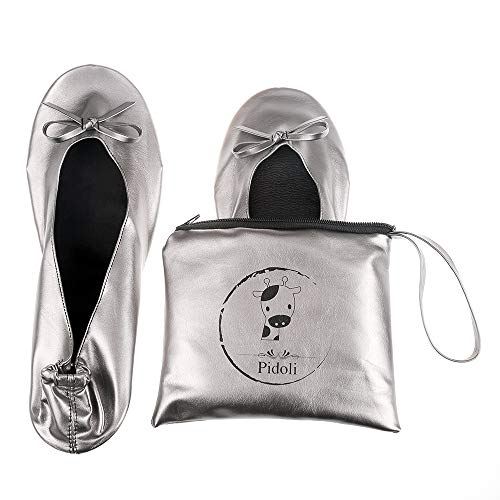 Ballet Flats Shoes -Women's Foldable Portable Travel Roll Up Shoes with Pouch (Grey, 9.5)