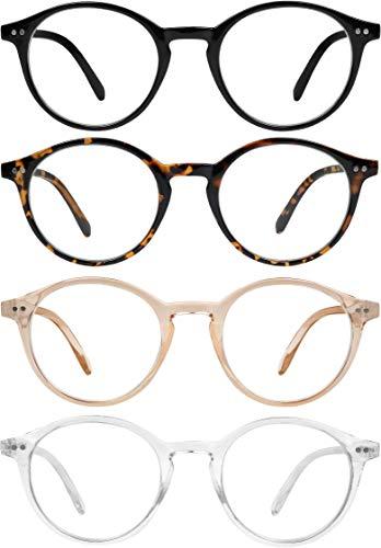 Blue Light Blocking Glasses Men Women Vintage Computer Glasses Blue Light Protection Round Rim Frame Anti Eyestrain Blue Light Blocker Eyeglasses (4 pack)