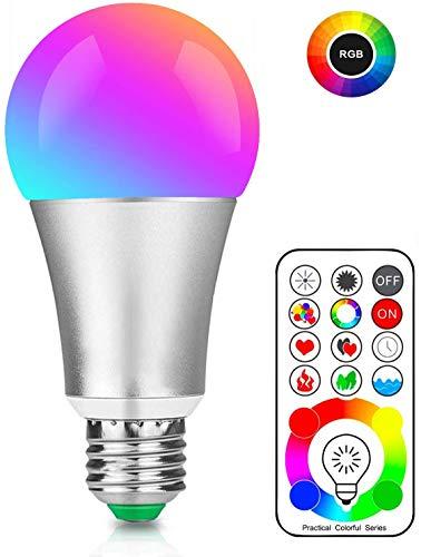 Bombilla LED Colores, RGBW Foco LED E26 10W con Control Remoto, Función de Temporización y Memoria, 12 RGB Colores, Luz Ambiente Regulable para Hogar, Bar, Fiesta, KTV