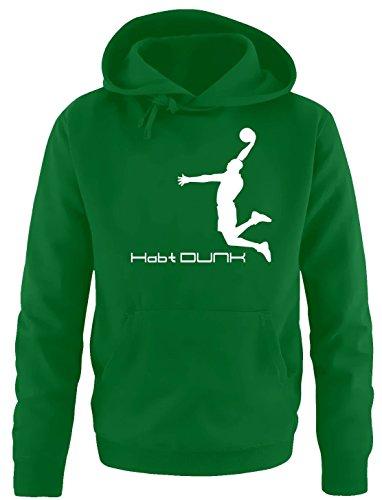 Coole-Fun-T-Shirts Habt Dunk Basketball Slam Dunkin Erwachsenen Sweatshirt mit Kapuze Hoodie Green-Weiss, Gr.XXL