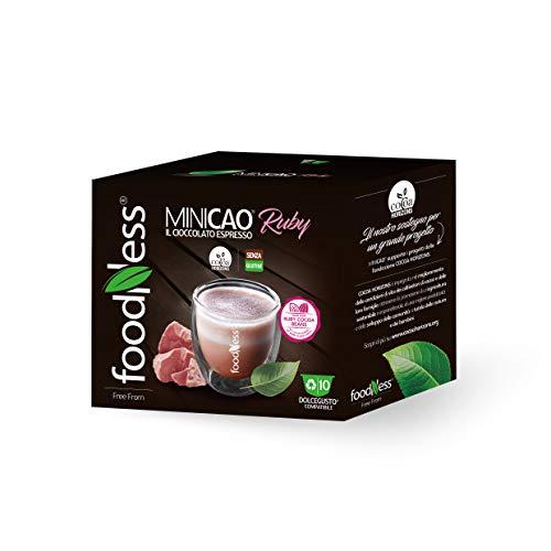 FoodNess - Capsula Minicao Ruby compatibile Dolce Gusto bevanda al cioccolato con fave di cacao Ruby senza coloranti e glutine dal gusto fruttato(1 box Tot. 10 Capsule)