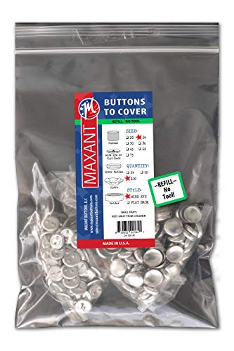 100 Buttons to Cover - Made in USA - Self Cover Buttons with Wire Eyes Size 24