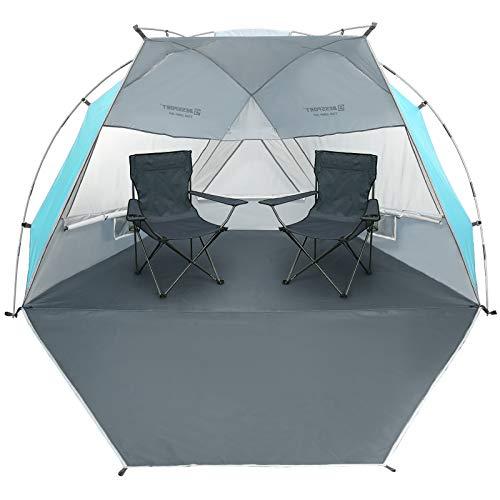 Bessport Tienda de Playa con Sun Shelter para 1-2 Personas, 3-4Personas, UPF 50+Portátil Tienda de Playa, para Playa, Pesca, Senderismo y Camping (L-Azul y Blanco)