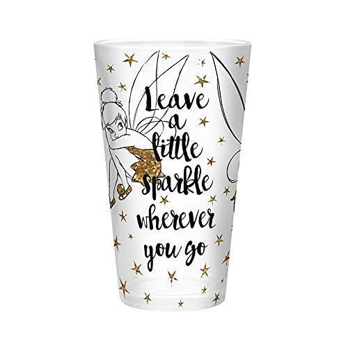Tinker Bell - XXL Glas - 400 ml - Leave a Little Sparkle - Glitter Gold