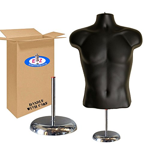 """Male Mannequin Torso by EZ Mannequins, Dress Form Clothing Body Display with Stand, Easy Set Up and Transport, Great for Indoor Or Outdoor Table Products, Deluxe 8"""" Metal Base. (Black)"""