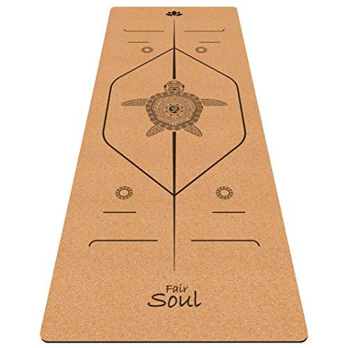 Fair Soul – Esterilla de yoga de goma natural y corcho con sistema de alineación y gráficos grabados con láser. Dimensiones: 183 x 66 cm. Incluye Yoga-Bag (Cork Turtle)