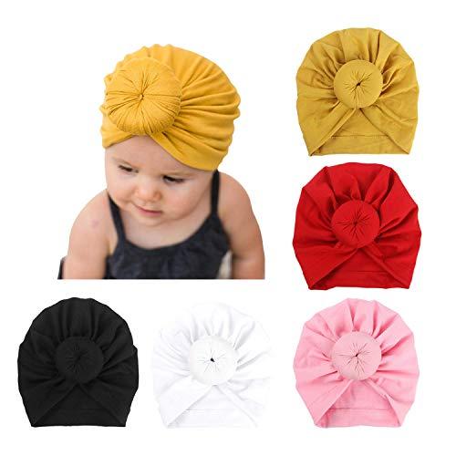 DRESHOW Bébé Turban Chapeaux Turban Bun Noeud Bébé Infant Bonnet Bébé Fille Doux Mignon Toddler Cap, lot de 5, multicolore TU