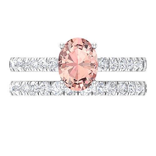 Juego de anillos de novia solitario, 2,48 ct D-VSSI moissanite forma ovalada 8x6 MM Morganita creada en laboratorio, anillo de compromiso de ajuste de corona de oro, 18K Oro blanco, Size:EU 62