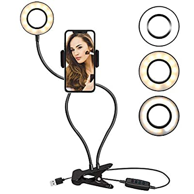 TalkWorks Selfie Ring Light with Cell Phone Holder - Flexible Table-Top Lamp Clip USB LED iPhone Camera Stand - Video Lighting (3 Light Modes, 10 Level Brightness) for Live Recording, Beauty/Makeup by MAP 140 (Talkworks)_Private Label (bounty)