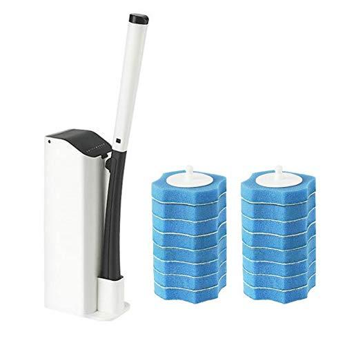 N/Y Wand-Toilettenstab-Kit, Einweg-Toilettenreinigerbürste und -Halter, leistungsstarkes Reinigungssystem Toiletten-Wand-Kit mit 16 Reinigungsnachfüllungen für die Toilettenreinigung