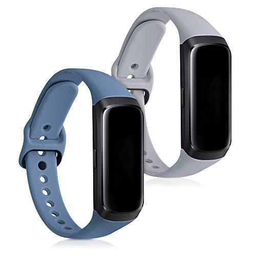 kwmobile Armband kompatibel mit Samsung Galaxy Fit (SM-R370) - 2X Silikon Fitnesstracker Sportarmband