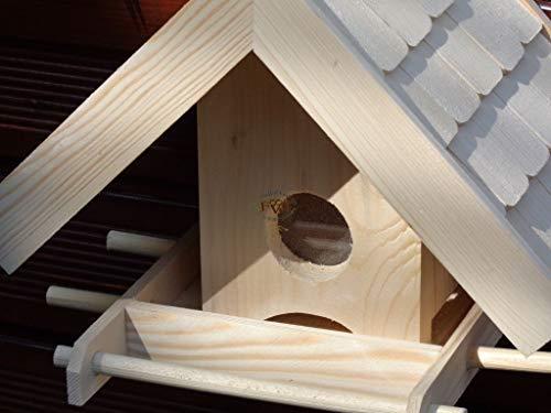 Vogelhaus + XXL- FUTTERSILO,K-VOWA3-natur002 Großes Vogelhäuschen + 5 SITZSTANGEN, KOMPLETT mit Futtersilo + SICHTGLAS für Vorrat PREMIUM-Qualität,Vogelhaus,- ideal zur WANDBESTIGUNG – Futterhaus, Futterhäuschen WETTERFEST, QUALITÄTS-SCHREINERARBEIT-aus 100% Vollholz, Holz Futterhaus für Vögel, MIT FUTTERSCHACHT Futtervorrat, Vogelfutter-Station Farbe natur, Ausführung Naturholz MIT TIEFEM WETTERSCHUTZ-DACH für trockenes Futter - 3