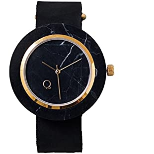 seqoya · Volcano | Stone Clock Made with Black Marble with Marble Dial Black and Leather Strap | Eco-Friendly Watch Men and Women | Unique Design and Original:Priorcastleinnvictoria