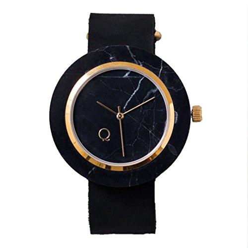 seQoya · Volcano   Reloj de Piedra Hecho con mármol Negro con Esfera de mármol Negro y Correa de Piel ecológica   Reloj Hombre y Mujer   Diseño único y Original