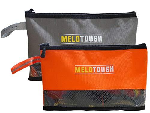 Melo Tough Multi Tool Pouch Small Tool Bag Zipper Bag Zipper Pouches, Durable Storage Organizer Tote bag 2 packs (Grey+Orange)