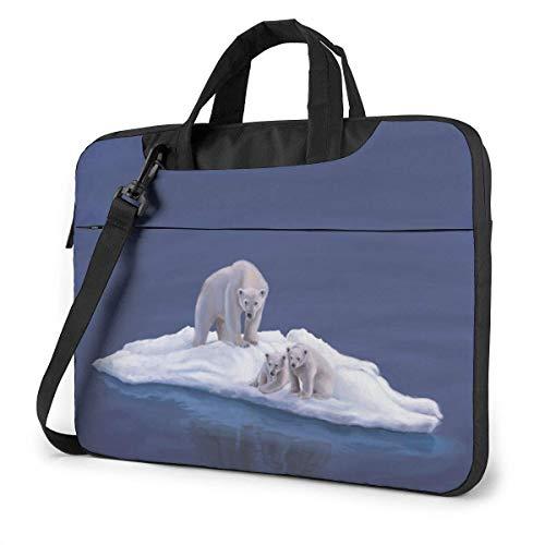 Bolsa de Hombro para computadora portátil, Bolsa Protectora de maletín con Osos Polares en el Hielo