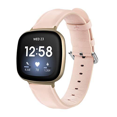 Jennyfly Correa de cuero para Fitbit Versa 3/Fitbit Sense, hombres de cuero genuino suave pulsera accesorios con hebilla de metal ajustable 6.7-8.1 pulgadas compatible con Fitbit Sense/Versa 3 - rosa