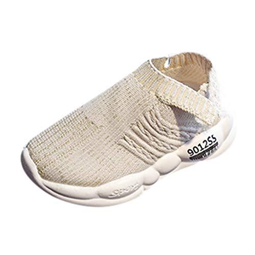 Zapatillas de Deporte Allence para niños y niñas, con Malla Multicolor, Transpirables, con Suela Suave, con Tejido elástico Beige Talla única