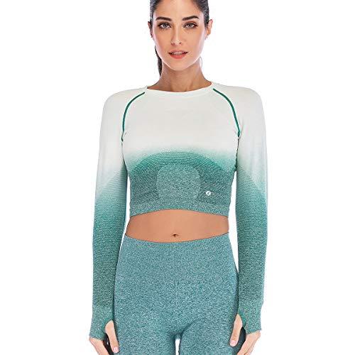 Leoyee Damen Gradient Fashion Sport Kurzes Fitness-Shirt Yoga Oberteil Laufen Kurzarm T-Shirt