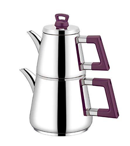 Neva | Lidya | theepot set | theepot | theekoker | waterkoker | Samowar | lila & zilver | roestvrij staal | 3,2 liter | geschikt voor inductie | Turkse thee | zwarte thee | N2664