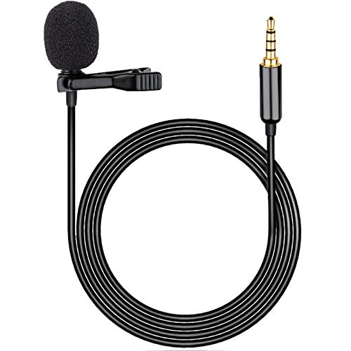 Lavalier Lapel Microphone Clip on Omnidirectional Condenser Mic Professional Compatible iOS, Android Smartphones, iPad Camera, Recording, Interview, Studio, Video