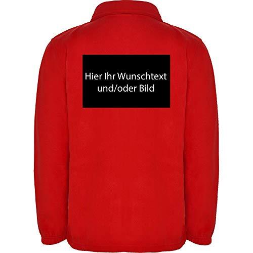 loco Personalized Herren Fleece Jacke Jacket Pullover Full Zip mit Ihr Wunschtext und/oder Bild L34 (red, M)
