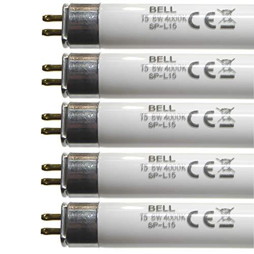 Paquete de 5 tubos fluorescentes 8 W T5 300 mm, blanco frío 4000k, casquillo G5 y tira de luces de iluminación 05410