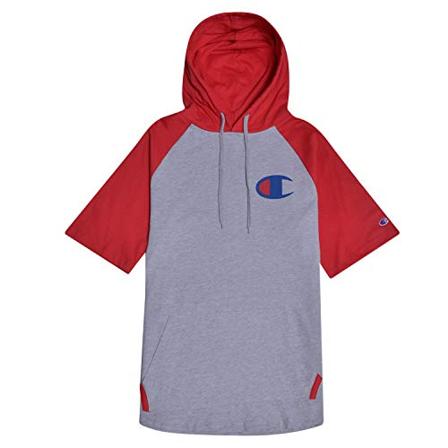 Champion Big and Tall Mens Short Sleeve Hoodie Raglan With Big C Chest Logo Heather Grey/Red 6X