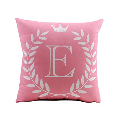 """ZUODU Pink Cushions for Bedrooms 45X45CM Letter Crown Printing Peach Skin-Like Decorative Pillow Cover Cushion Cover 18x18"""" Free Combination (Letter E)"""