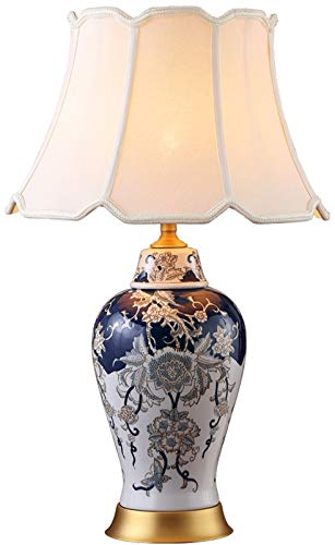 Lámpara De Mesa De Porcelana Azul Y Blanca Azul Zafiro Clásica Innovadora China, Pantalla De Tela, Lámpara De Mesa Grande, Decoración Del Hogar, Cabecera Del Dormitorio, Sala De Estar, Pasillo, Salón