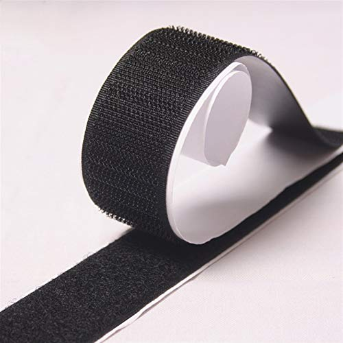 JIANDONG Velcros Adhesivo Negro Blanco Magia Grifo Autoadhesivo velcros Gancho Bucle Cierre de Nylon Pegatina Cinta Fuerte Pegamento (Size : 30mm Black)