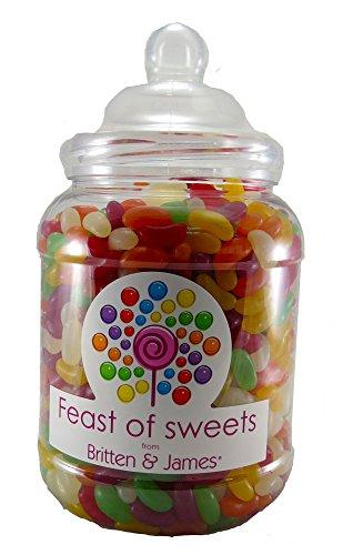 JELLY BEANS 2Kg+. Big Feast of Sweets Jar by Britten & James®. Dulces tradicionales británicos en un tarro reutilizable de plástico de 2500 ml. Un regalo perfecto.