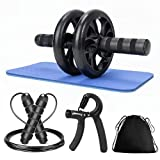 Ab Rollers Wheel Set, Abs Rollout with Skipping Rope + Hand Grip + Knee Pads Mat,Abdominal Core Exercise Fitness Strength Tranning Workout Equipment for home Use or Gym