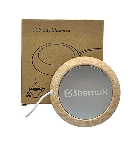 Shernax Placa usb para mantener caliente taza de cafe con el ordenador (Madera clara)