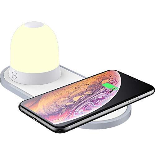 ADSE Cargador inalámbrico rápido con luz Nocturna, estación de Carga inalámbrica Compatible con iPhone 12/12 Mini / 12 Pro / 12 Pro MAX / 11 / XR/XS/X / 8, Galaxy S9 / S8