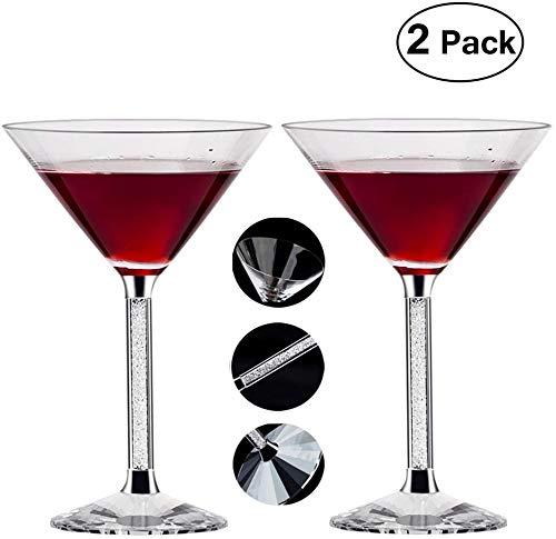Nobrand Kristallglas Pure Stemware Collection Martini-Cocktailglas, wiederverwendbar, spülmaschinenfest, 284 ml, 2er-Set