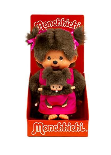 Monchhichi Kiki Maman avec Enfant Rose 20 cm