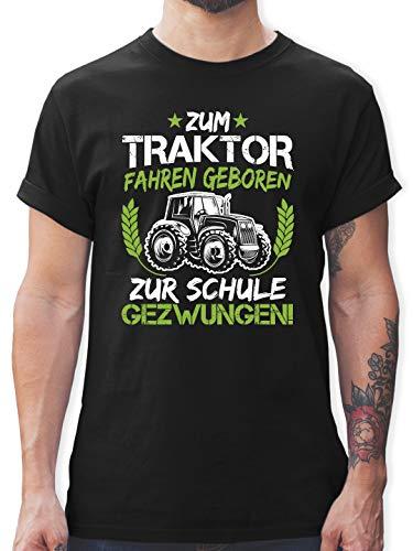 Sprüche Statement mit Spruch - Zum Traktor Fahren geboren zur Schule gezwungen Grün/Weiß - XXL - Schwarz - Kinder Shirts mit sprüchen - L190 - Tshirt Herren und Männer T-Shirts