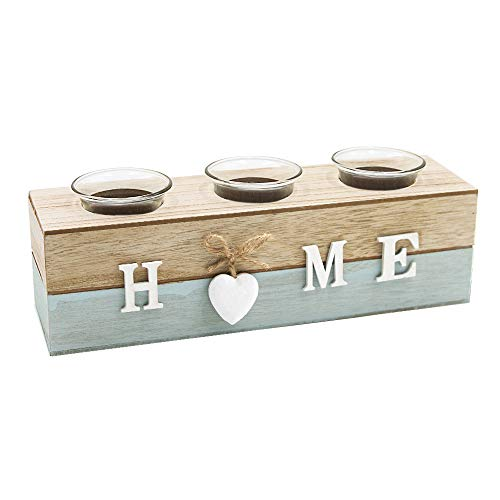 Afuly Wooden Tealight Candle Holder Rustic White Heart Glass Blue for Tables Living room Bathroom Christmas Shabby Decor Gift Set of 3