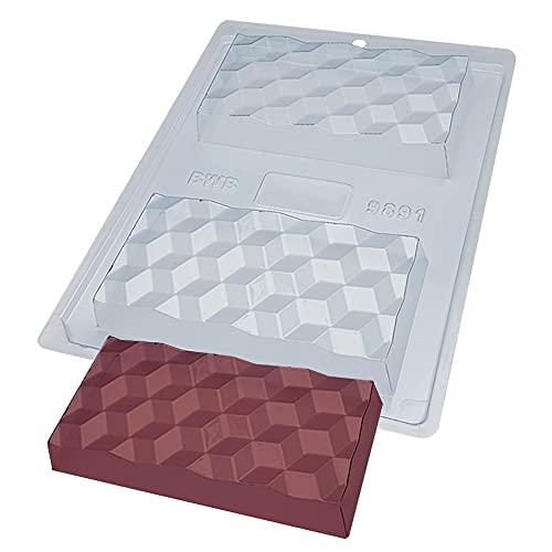 BWB 9891 Molde Especial 3 partes Tabletas 3D con silicona para chocolate caliente de 2 Agujeros 70-250g de Policarbonato Tridimensional Transparente