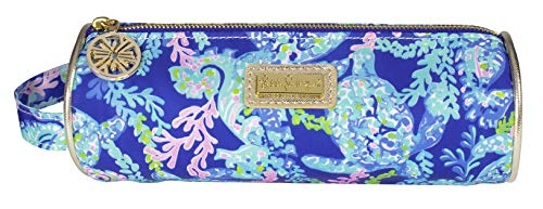 Lilly Pulitzer Blue Pencil Pouch Holder, Cute Travel Bag/Case with Carrying Handle and Zip Close, Turtle Villa