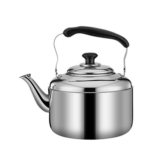hervidor de té Silbato de Gran Capacidad Hervidor de té de Acero Inoxidable Mango ergonómico frío clásico Plateado para la Parte Superior de la Estufa (Tamaño: 8L) Hervidor