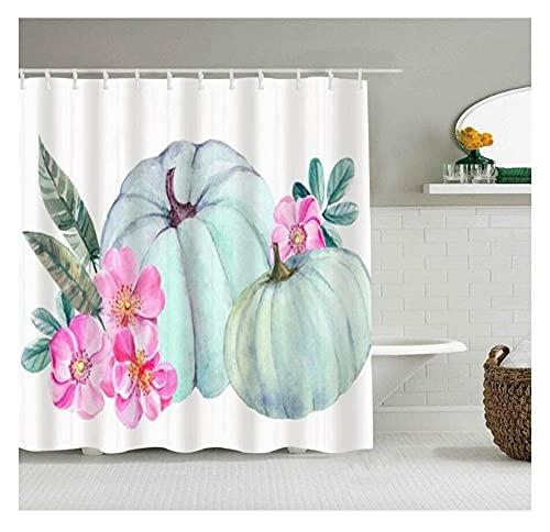 Waschbar Stoff Badewanne Vorhang Aquarell Blaue Kürbisblüten Rosa Rose Natur Essen Duschvorhang Waschmaschinenfest Für Badduschen Und Badewannen