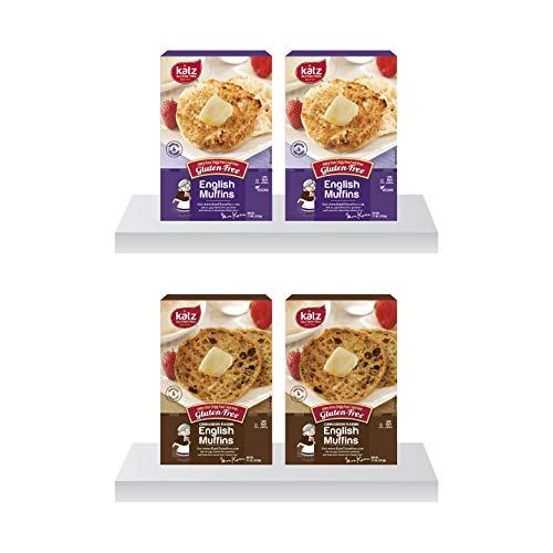 Katz Gluten Free English Muffin Variety Pack | 2 x Plain, 2 x Cinnamon Raisin | Dairy, Nut and Gluten Free | Kosher (4 Muffins per Pack)